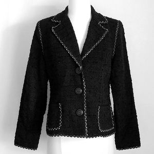 CAbi Boucle Tweed Ric-Rac Trim Blazer Jacket